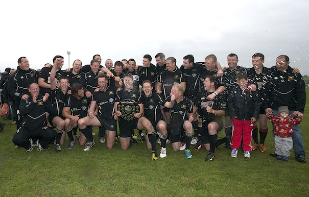 Bridgnorth 1XV celebrate their victory as North Midlands Shield Champions 2