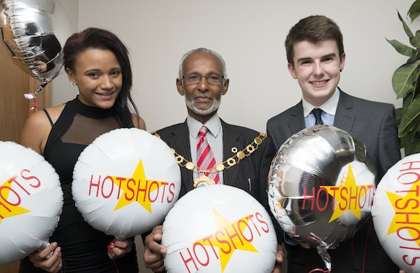 Borough Mayor Councillor Leon Murray is pictured at the Hotshots Awards with Mark Rhodes, 16, and Paige Dulson 15
