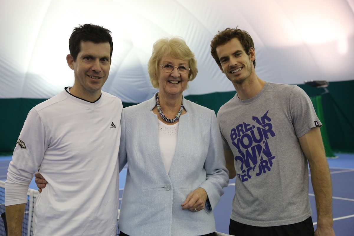Tim Henman, Cathie Sabin and Andy Murray at Cobhams' new High Performance Tennis Centre;