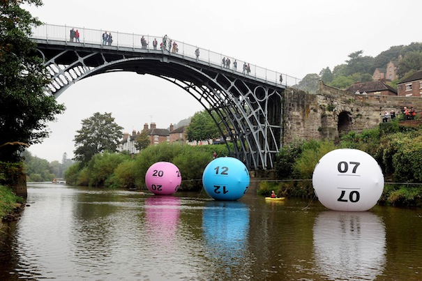 Lotto balls float under the Iron Bridge, Shropshire.jpg 4