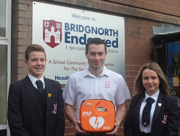 Chris Phillips of Heartstart Bridgnorth with a defibrillator based at Bridgnorth Leisure Centre.