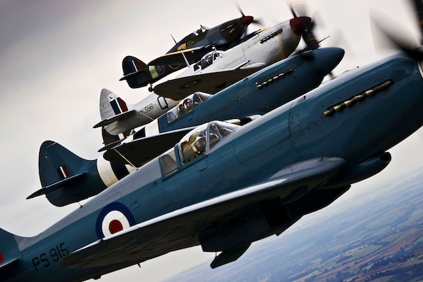 Spitfires and Hurricanes Flying in Formation Over Lincolnshire