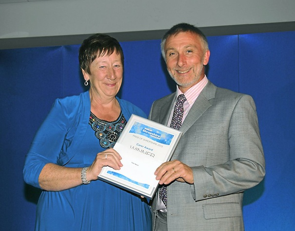 Pat Magner with David Coull, chief executive of Coverage Care, who sponsored the award.