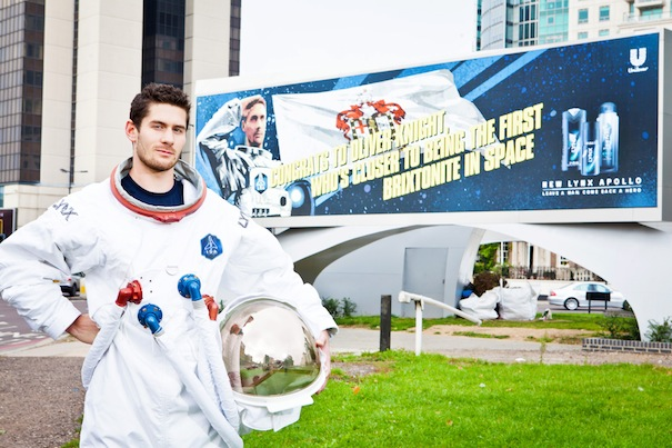 Oliver Knight, finalist of the Lynx Space Academy poses in front